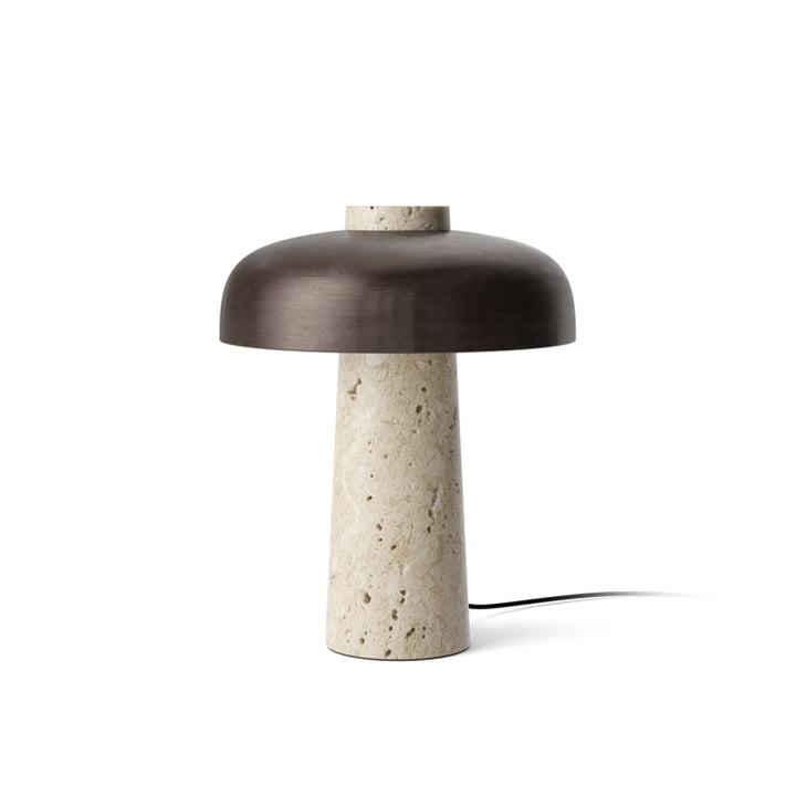 Omvendt bordlampe, Ø 24 x H 30 cm, poleret messing / travertin sten fra Menu
