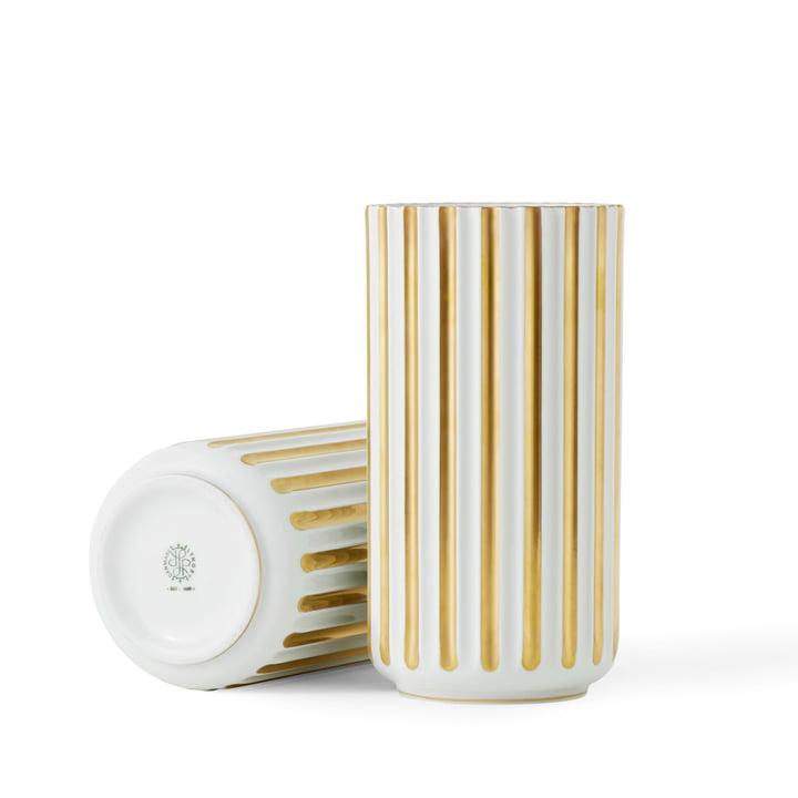 Lyngby vase H 15,5 cm af Lyngby Porcelæn i hvid / guld