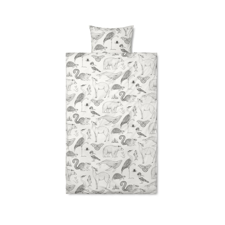 Katie Scott sengelinned Grafisk af ferm Bor i hvid / grå