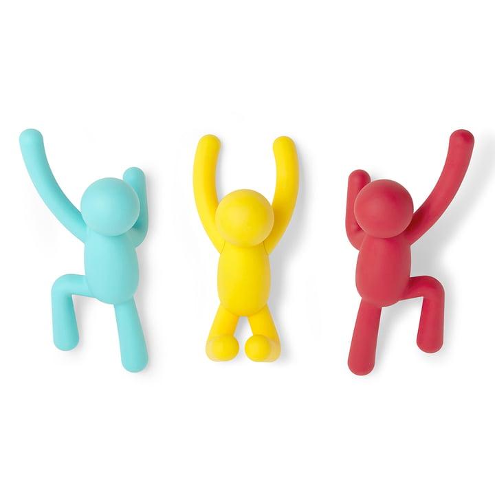 Buddy vægkroge sæt med 3 fra Umbra i blå / gul / rød