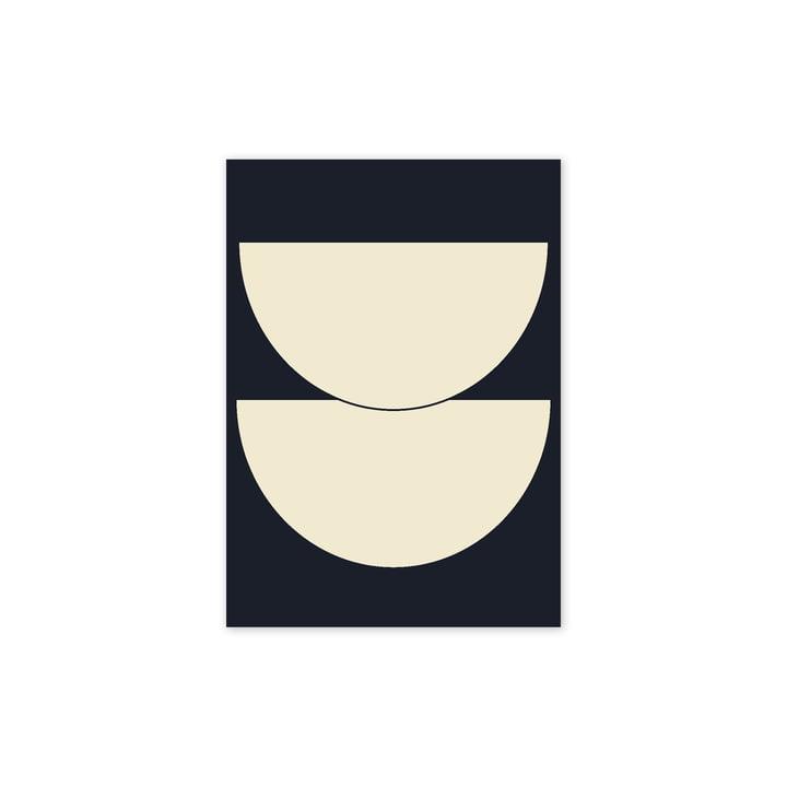 Half Circles I plakat, 30 x 40 cm, blå af Paper Collective
