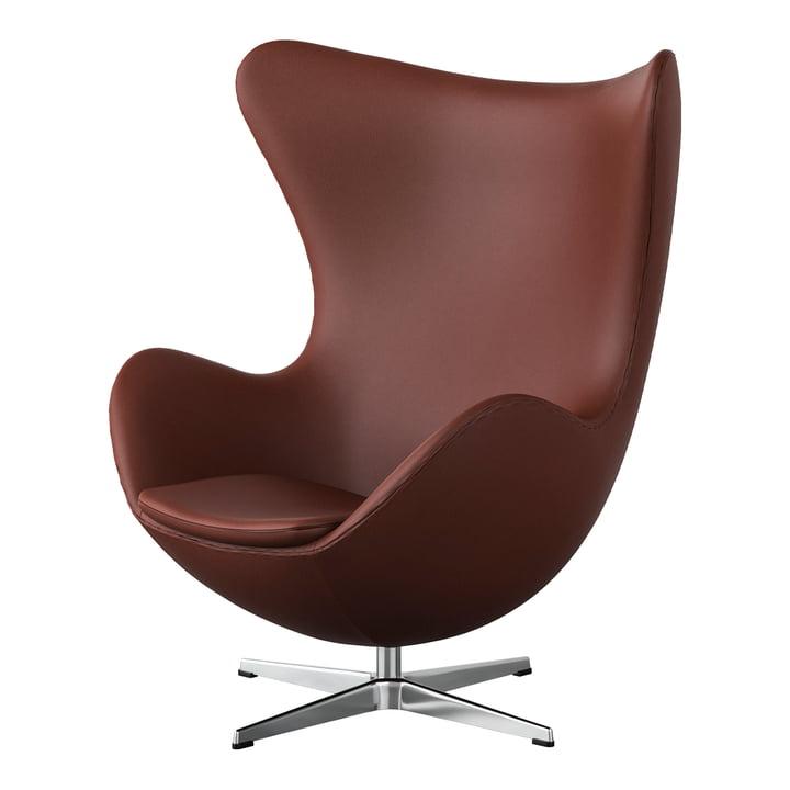 Egg Chair af Fritz Hansen i krom / spektrum læder rustbrun (specialudgave)