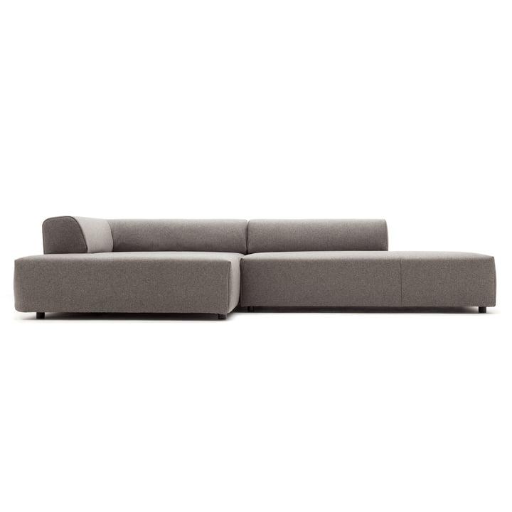 184 sofa, chaiselong til venstre, beige grå betræk (7404) / standard plastbase af freistil
