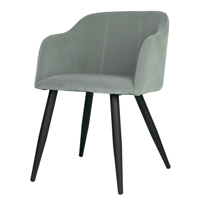 Pernilla polstret stol, mat sort / chinese grøn af Broste Copenhagen