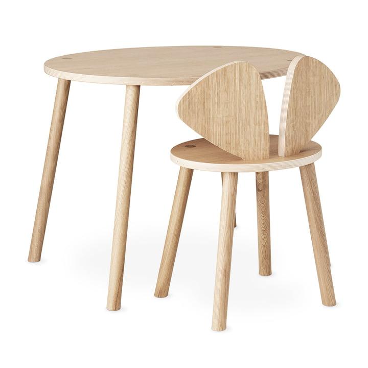 Mouse School Set (junior stol og bord) ved Nofred i mat lakeret eg
