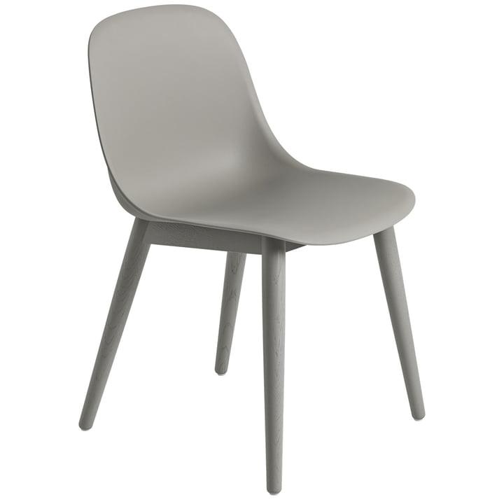 Fiber sidestol Træbund, grå / grå af Muuto