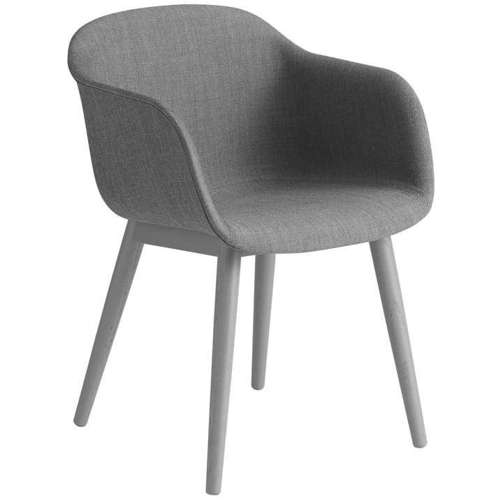 Fiber Chair Wood Base, grå / Remix 133 af Muuto