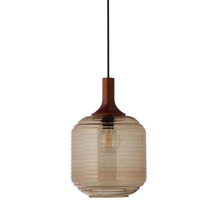 Honey pendellampe Ø 26 cm, glasfarvet / gummitræ mørkt farvet af Frandsen