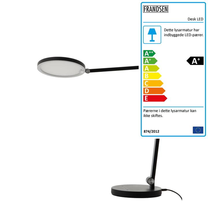 Bord-LED bordlampe, sort mat fra Frandsen