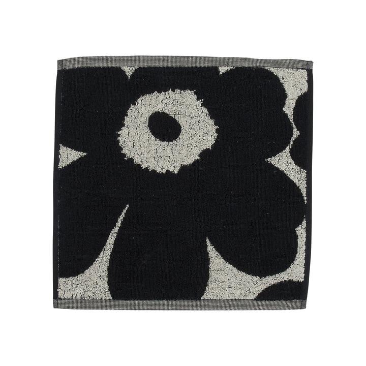 Unikko jacquard mini håndklæde 30 x 30 cm fra Marimekko i bomuld hvid / mørkeblå