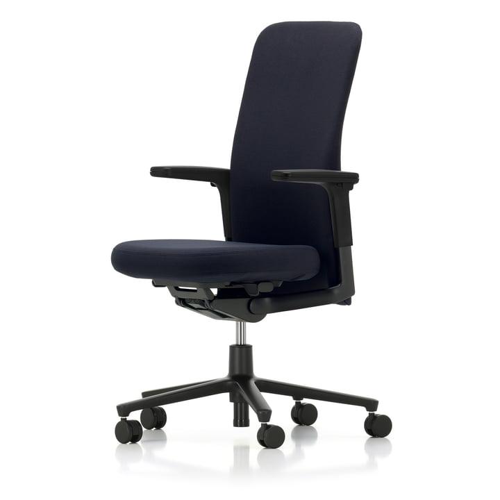 Vitra - Stillehavsstol mellemhøj, justerbar armlæn, fem-stjerners stel sort, hjul hårdt gulv, sæde og ryg mørkeblå / mårbrun (laser)
