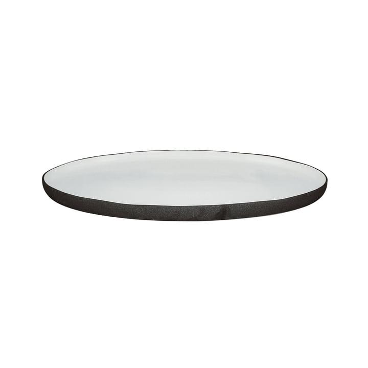 Esrum serveringsplade oval S, 30 x 20,5 cm, elfenben blank / grå matt af Broste Copenhagen
