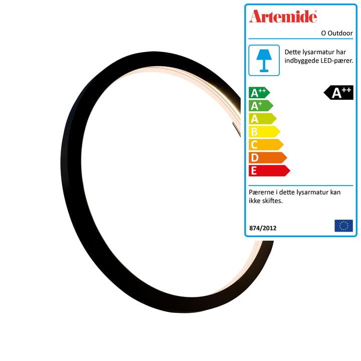 O Udendørs LED væg- og loftslampe Ø 45 cm, sort af Artemide