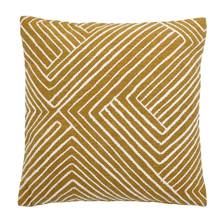 Giana bomuldspude 50 x 50 cm fra Bloomingville i gul / hvid