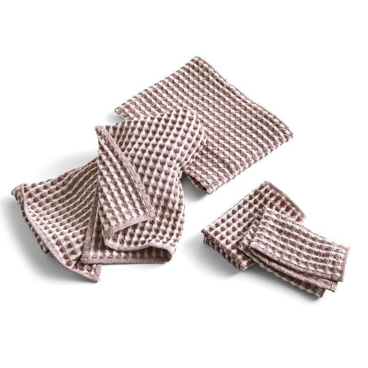Twist te håndklæde & håndklæde, Bourgogne (sæt med 4) af Hay .