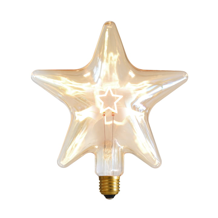LED Star, E 27 / 0,75 W, guldfarvet, dæmpbar af NUD Collection