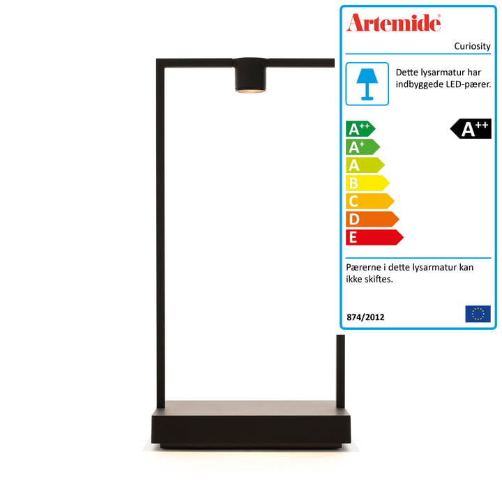 Curiosity batteri LED bordlampe H 36 cm fra Artemide i sort / brun