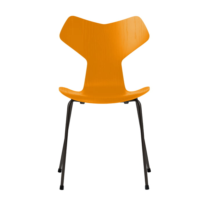 Grand Prix stol af Fritz Hansen i brændt gul farvet ask / stel sort
