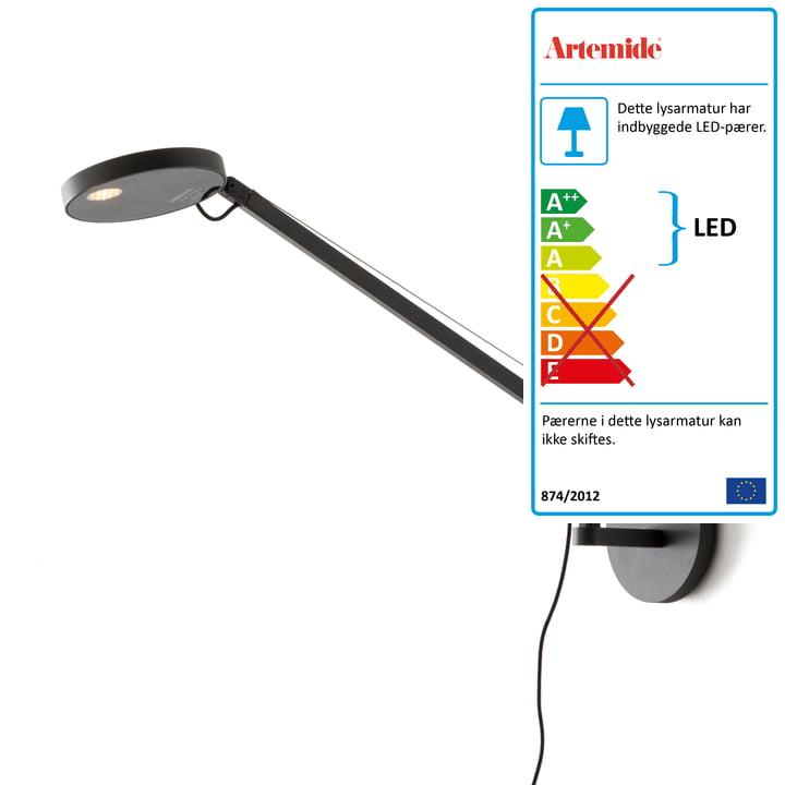 Demetra Micro LED væglampe fra Artemide i antracit