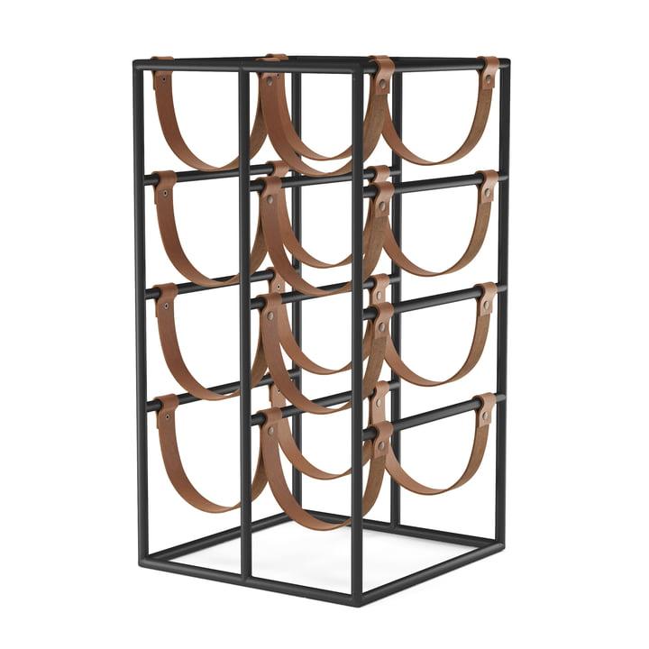 Umanoff vinstativ til 8 flasker, stålsort (RAL 9005) / læderbrun fra Menu