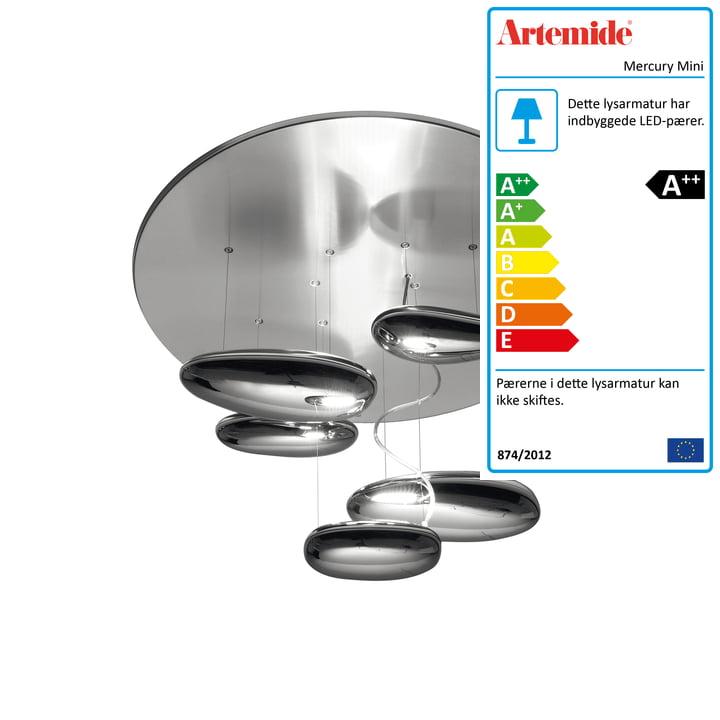 Mercury Mini LED loftslampe, 2700K / poleret krom af Artemide