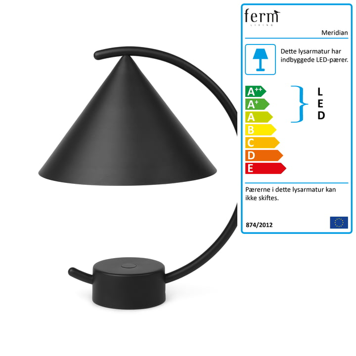 Meridian bordlampe fra ferm Living i sort