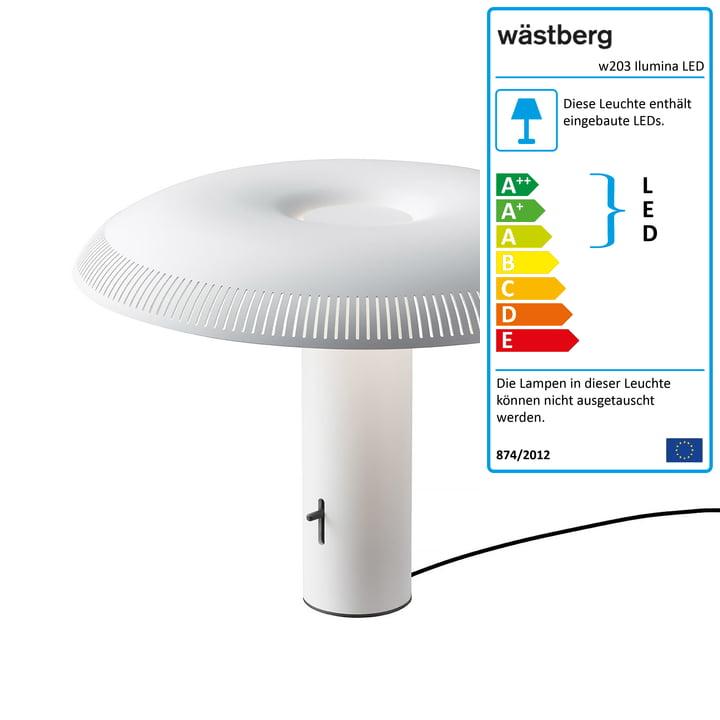 W203 Ilumina LED bordlampe fra Wästberg i hvid