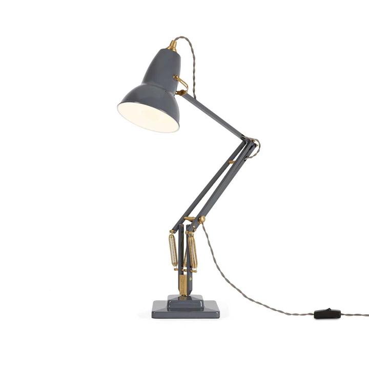 Original 1227 messing bordlampe fra Anglepoise i elefantgrå