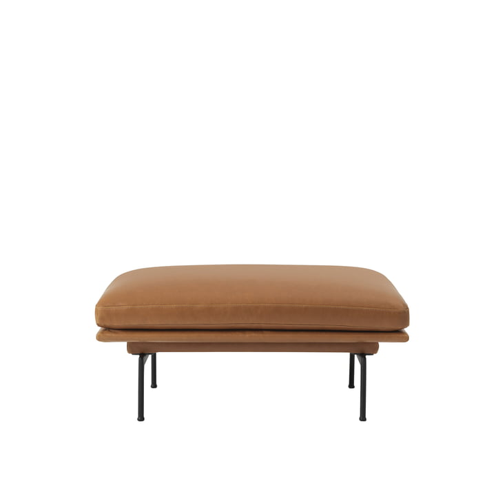 Outline Sofa Pouf fra Muuto med sorte ben i aluminium