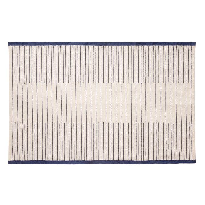Vævet tæppe 120 x 180 cm, blå / hvid fra Hübsch Interior