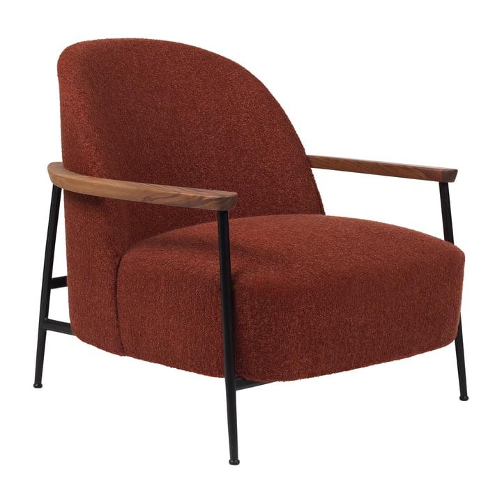 Sejour Lounge Lounge med armlæn, mat sort / eg af Gubi