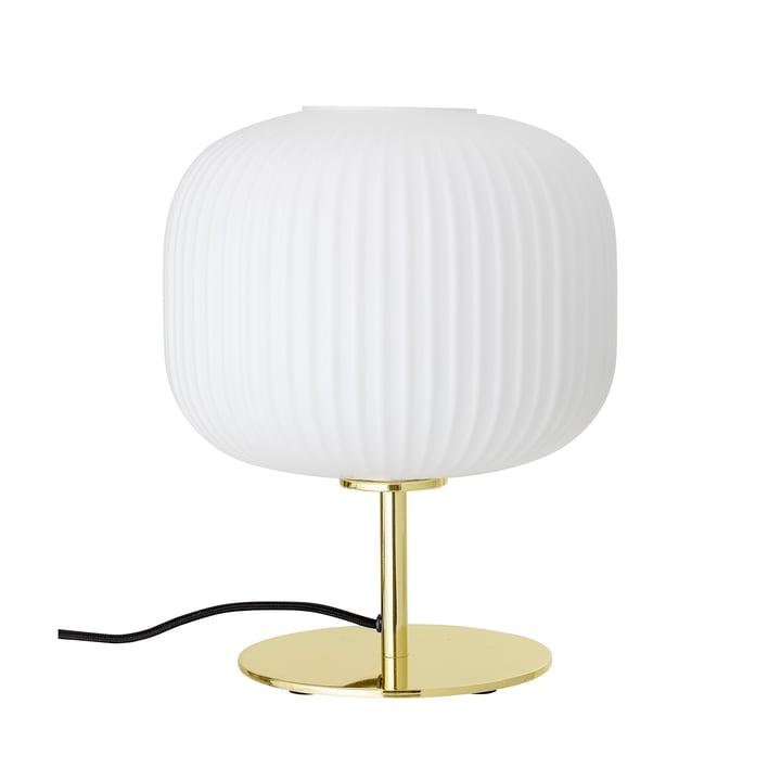 Bordlampen til fods fra Bloomingville i guld / hvid