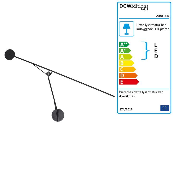 Aaro LED væglampe fra DCW i mat sort