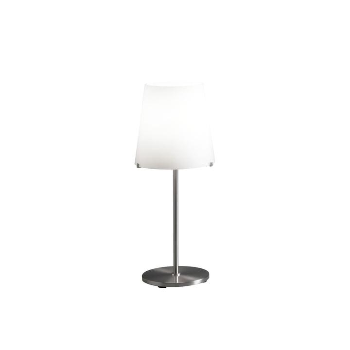 3247TA bordlampe fra FontanaArte i hvid / nikkel, Ø 20 cm, H 46 cm,