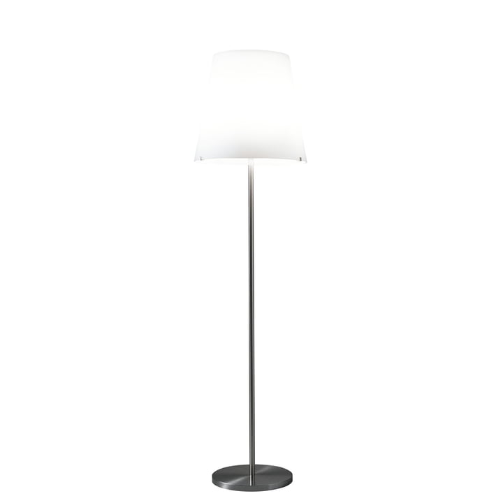 3247 gulvlampen fra FontanaArte i hvid / nikkel, Ø 32 cm, H 150 cm