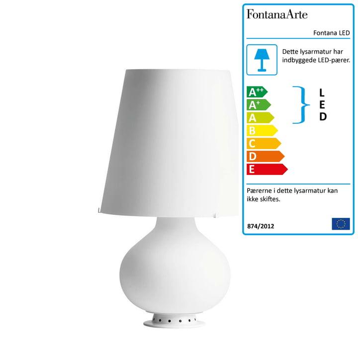 Fontana LED bordlampe fra FontanaArte i hvid, Ø 20 cm, H 34 cm