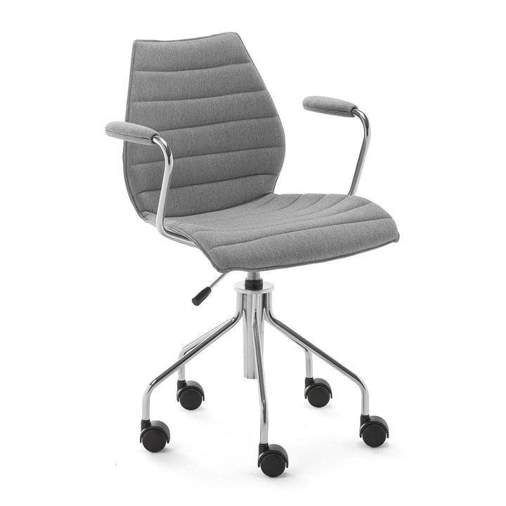 Maui Soft kontorstol med armlæn og hjul, Noma / grå fra Kartell