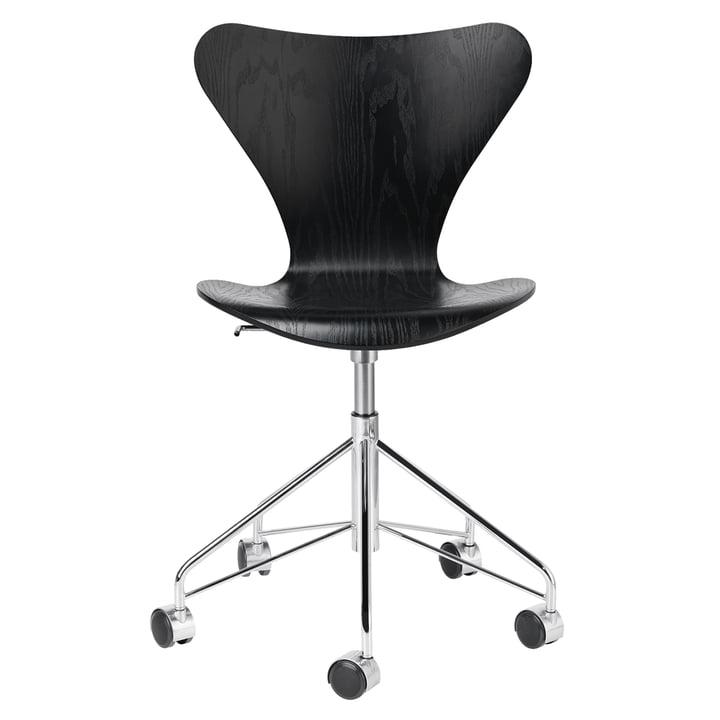Serie 7 kontorstol af Fritz Hansen i krom / sortfarvet ask