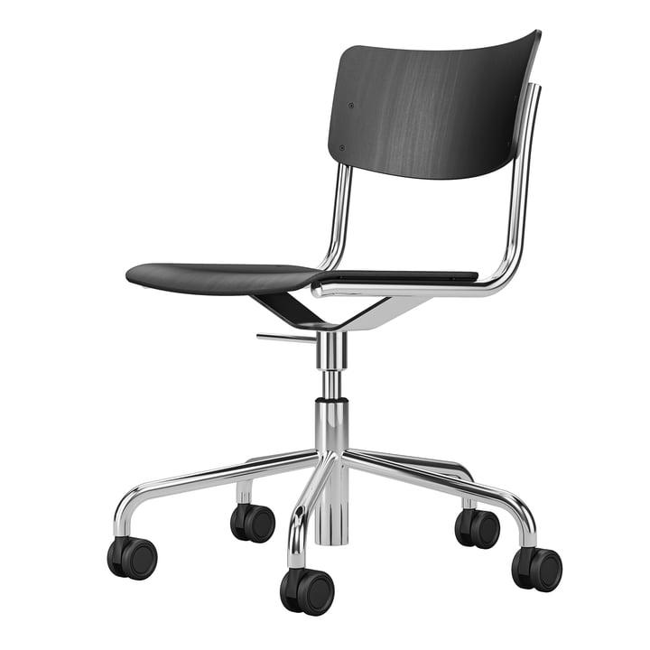 S 43 DR kontorstol, femstjernet stel med hjul af Thonet, krom / sortbejdset bøg