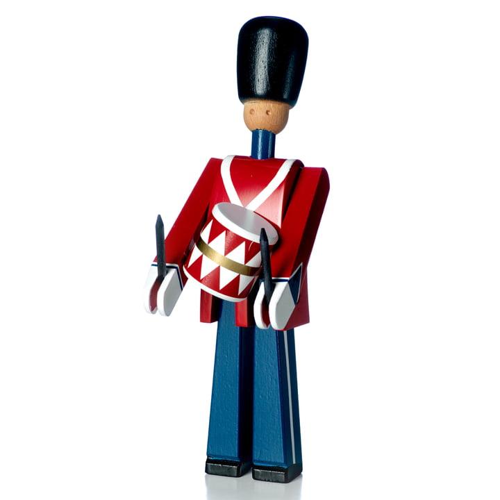 Trommeslager træfigur, rød / blå / hvid af Kay Bojesen