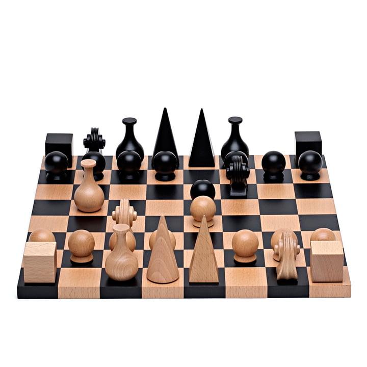 Man Ray skakspil fra Klein & More bestående af 32 stykker med et bræt, 40 x 40 cm