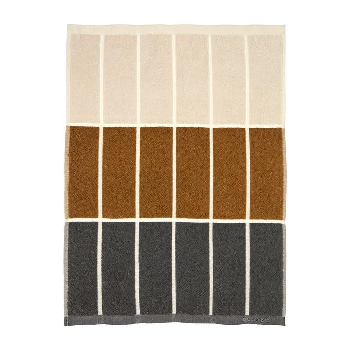 Tiiliskivi håndklæde 50 x 70 cm fra Marimekko i farverne mørkegrå / kanel / pulver