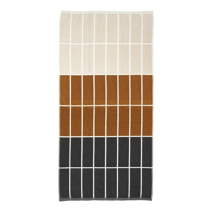 Tiiliskivi badehåndklæde fra Marimekko i farven mørkegrå / kanel / pulver