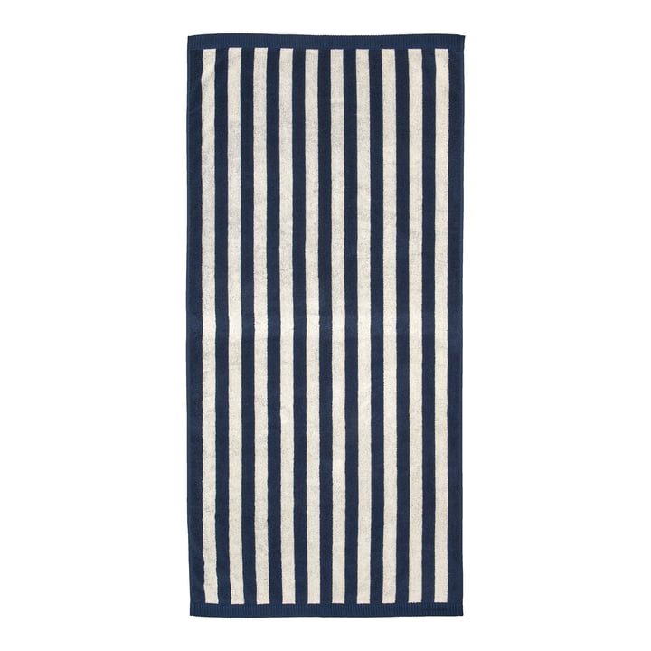 Marimekko - Kaksi Raitaa badehåndklæde 70 x 150 cm, sand / mørkeblå