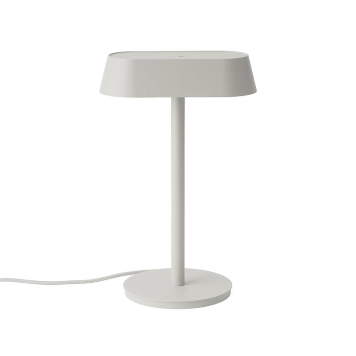 Linear bordlampe fra Muuto i farven grå