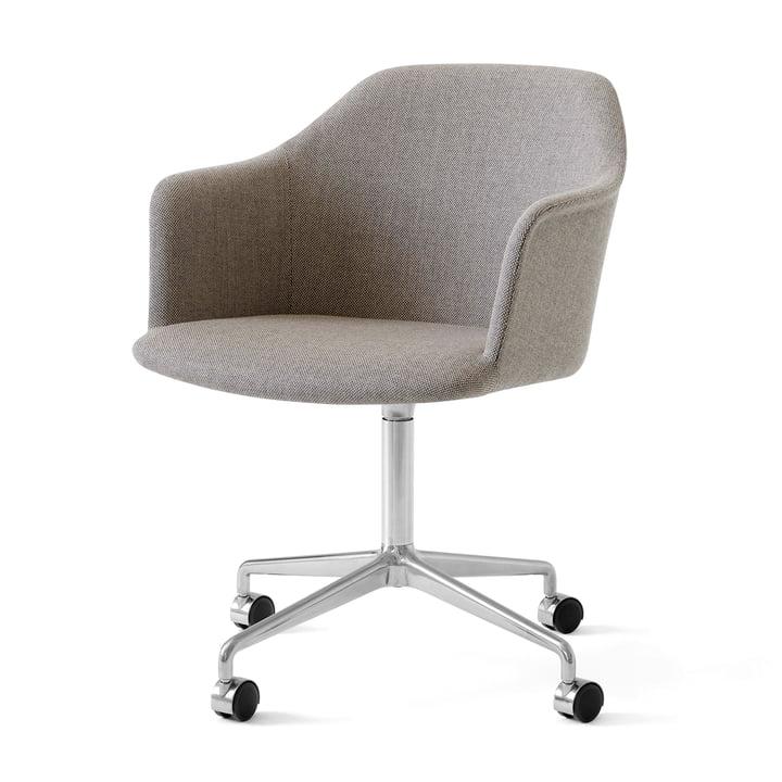 Rely HW50 lænestol med hjul, poleret aluminium / Kvadrat Re-Wool 218 af & tradition