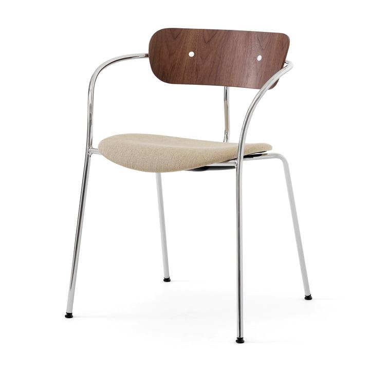 Pavilion AV4 lænestol, valnød / Ruskin Elk 05 / krom af & tradition