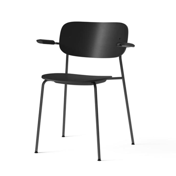 Co Dining Genbrugsstol i plast med armlæn, sort fra Menu
