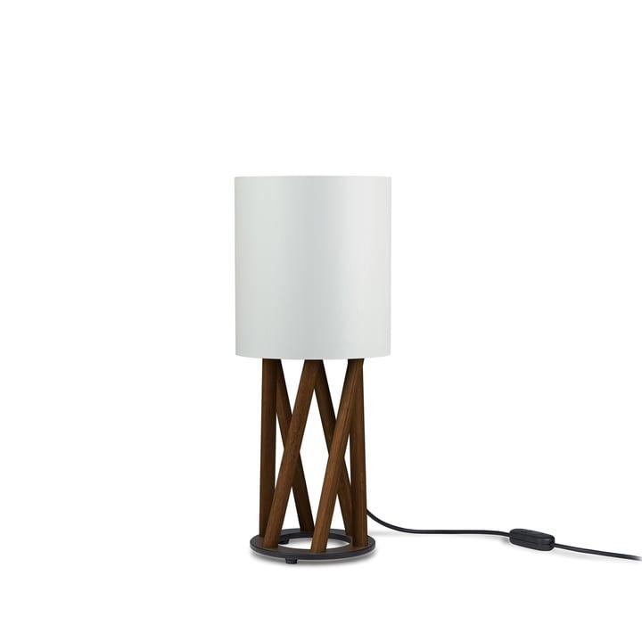 LINN LITTLE OBLIQUE bordlampe fra Maigrau i røget eg, hvid