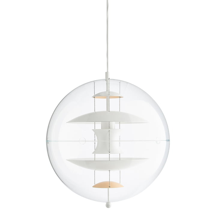 VP Globe pendel Ø 40 cm fra Verpan i varm fersken / hvid / klar